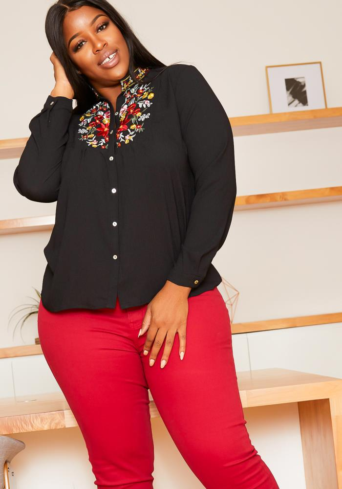 Asoph Plus Size Mexican Embroidered Mock Neck Collar Blouse ...