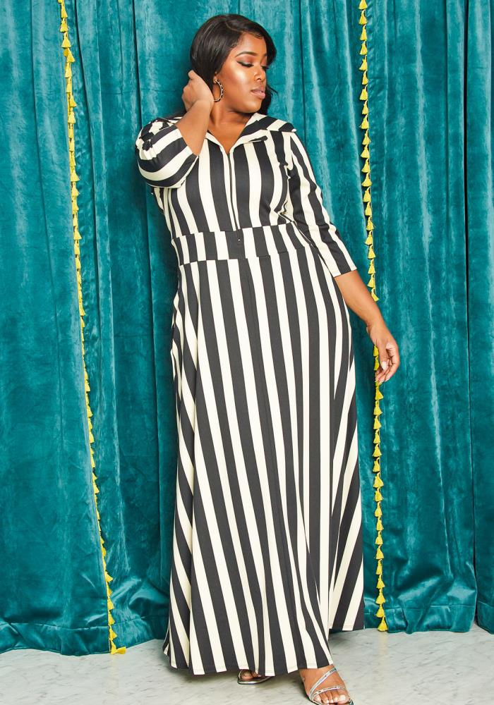 Asoph Plus Size Stripe Zip Up Maxi Dress by Asoph