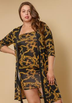 a9cd2a4ccde Previous. Next. 1  2. STYLE    2002570. Asoph Plus Size Women Clothing Gold  Chain Tube Dress Cardigan Set