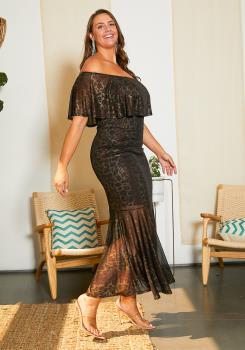 Asoph Plus Size Metallic Leopard Print Off Shoulder Maxi Dress ... 2643ee8f1