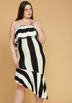 77d99266c0 Asoph Plus Size Stripe Tube Top Dress