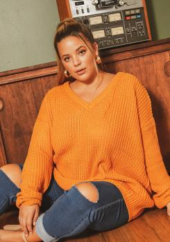 Asoph Plus Size Cross Back Oversized V Neck Sweater |