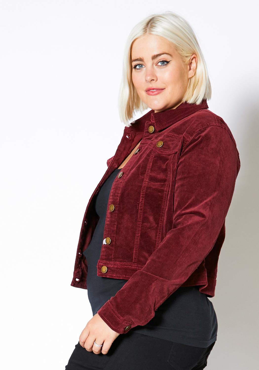 27493bc235 Asoph Plus Size Corduroy Button Up Jacket