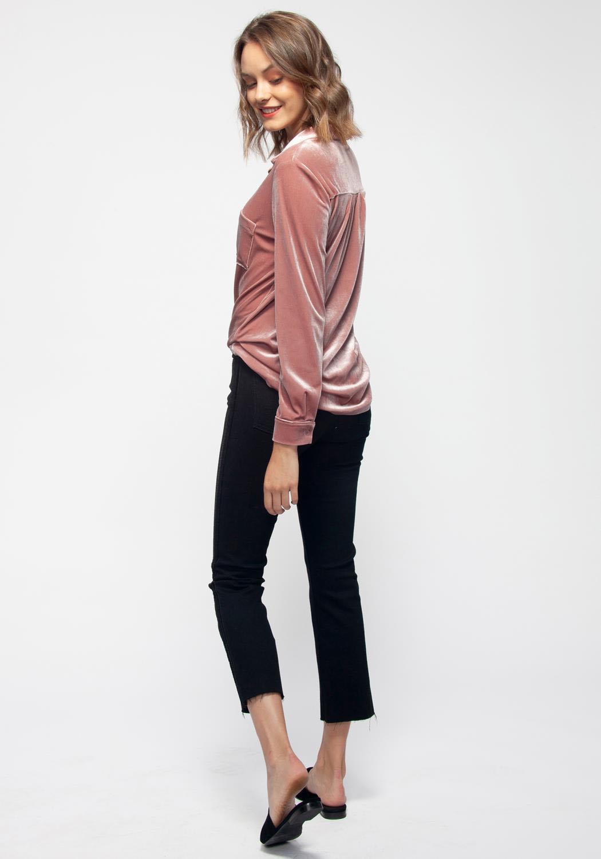 271608ed8 Pleione Women's Button Down Velvet Shirt Blouse With Tie Hem | Asoph.com